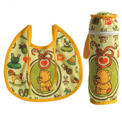 Digitally printed 300 TC Cotton Quilted Bib And Bottle Cover Set For Infant Kids