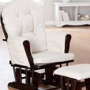 Hoop Glider and Ottoman Set For You and Your Baby To Snuggle, Sturdy Wood, Espresso/Beige