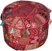 Round Patchwork Embroidered Multi Ottoman Pouffe Bohemian Indian Decorative, Size 16 X 41cm X 30cm