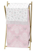 Baby/Kids Clothes Laundry Hamper for Pink Grey and White Shabby Chic Alexa Damask Butterfly Girls Bedding