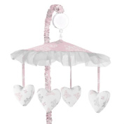 Pink, Grey and White Shabby Chic Alexa Damask Butterfly Girls Musical Baby Crib Mobile