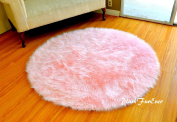 Faux Fur Decor Baby Pink Nursery Round Area Rug Suede Backing Plushfurever Shaggy Sheepskin