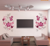 Purple Flowers Leaves Wall Decal Home Sticker Paper Removable Living Dinning Room Bedroom Kitchen Art Picture Murals DIY Stick Girls Boys kids Nursery Baby Playroom Decoration PP-JM7151
