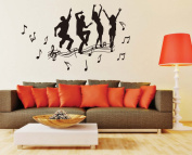 Music Dancing People Wall Decal Home Sticker Paper Removable Living Dinning Room Bedroom Kitchen Art Picture Murals DIY Stick Girls Boys kids Nursery Baby Playroom Decoration PP-JM7269