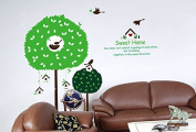 Birds Sweet Home Birdcages Green Leaves Trees Wall Decal Home Sticker Paper Removable Living Dinning Room Bedroom Kitchen Art Picture Murals DIY Stick Girls Boys kids Nursery Baby Playroom Decoration PP-AY918