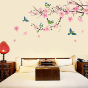 Pink Peach Blossom Flowers Wall Decal Home Sticker Paper Removable Living Dinning Room Bedroom Kitchen Art Picture Murals DIY Stick Girls Boys kids Nursery Baby Playroom Decoration PP-DLX917