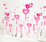 Heart Shape Trees Butterflies Wall Decal Home Sticker Paper Removable Living Dinning Room Bedroom Kitchen Art Picture Murals DIY Stick Girls Boys kids Nursery Baby Playroom Decoration PP-AY9116