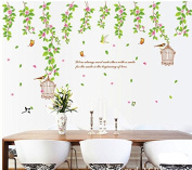 Green Leaves Vines Flowers Butterflies Birds Birdcage Wall Decal Home Sticker Paper Removable Living Dinning Room Bedroom Kitchen Art Picture Murals DIY Stick Girls Boys kids Nursery Baby Playroom Decoration PP-AY9084