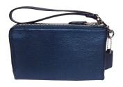Coach Pebbled Leather Double Corner Zip 64130 Metallic Blue