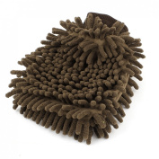 Microfiber Car Vehicle Cleaning Washing Chenille Mitten Glove Brown