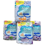 Angel Soft On the Go Non-Lotion Facial Tissue, 7X More Sheets- Assorted Pastel Colours-Total 4 Packs-288 2-ply Individual Tissues