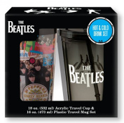 Vandor 64088 The Beatles 470ml Plastic Travel Mug and 530ml Acrylic Travel Cup with Lid and Straw Set, Multicolor