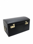 Morelle Marylyn Leather Jewellery Chest with 3 Takeaway Cases, Black