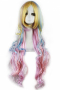 86cm Long Zipper Multi-colour Wave Anime Cosplay Wig Cb33