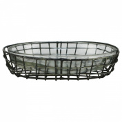 Primitive Style Metal Wire & Glass Bath Soap Dish Farmhouse Bathroom Kitchen Decor