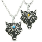Celtic Wolf Third Eye Protection Love Couple or Best Friends Set Tiger Eye Simulated Turquoise Necklaces