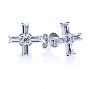 Lavish Collection Sterling Silver Baguette Cut Cubic Zirconia Setting Cross Stud Earrings