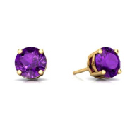 2 Ct Amethyst Round Stud Earrings 14Kt Yellow Gold