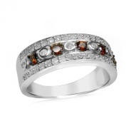 V3 Jewellery Sterling Silver 3/4ct TDW Red Diamond Band Ring