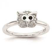 925 Sterling Silver Polished Onyx Owl Ring
