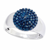 V3 Jewellery Sterling Silver 1/2ct TDW Blue Diamond Cluster Ring