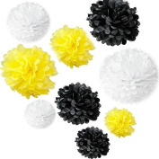 Generic Set of 18PCS Mixed Sizes White Yellow Black Tissue Paper Pom Poms Wedding Bridal Shower Christmas Party Decoration