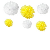 Generic Set of 12pcs Mixed 3 Sizes White Yellow Tissue Paper Pom Poms Flower Wedding Party Baby Girl Room Nursery Decoration