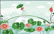 Water lily Flower-DIY Painting by number kit Canvas Picture for child Living Room 20cm x 30cm Cartoon(Framed)walking over bridge