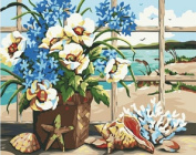 PaintingStudio Beautiful Flower in vase Still Life DIY Painting by number kits 41cm X 50cm Paint Works picture Frameless