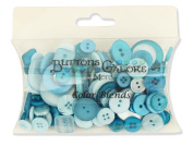 Buttons Galore CB106 Colour Blend Buttons, 90ml, Teal Ice, 3 Shades of Teal