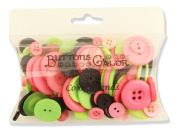 Buttons Galore Colour Blend Buttons, 90ml, Grey/Lime/Fuchsia
