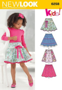 Simplicity Creative Patterns New Look 6258 Child's and Girls' Circle Skirts, A