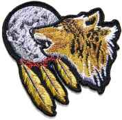 Indian Feather Full Moon Lone Wolf Fox Dog Wild Animal Choppers Lady Rider Biker Tatoo Jacket T-shirt Patch Sew Iron on Embroidered Sign Badge Costume
