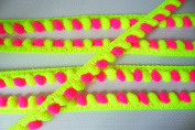 Neon Lime Green Hot Pink Mini Pompom Mix Colours Fringe Lace Dangling Trim Braid Tape Fluff Bobble Ball Ruffle 6 Yards