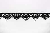 Altotux 1.9cm Wide White Ivory Black Rayon Scalloped Venice Lace Trim By 2 Yards