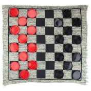 Giant 3-in-1 Checkers and Mega Tic Tac Toe with Reversible Rug by Brybelly
