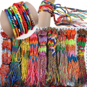 50pcs Wholesae BULK Jewellery lots Colourful Braid Friendship Cords Strand Bracelet