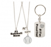 Set of 3 Necklaces and Keychain, Mother Father and Daughter Softball