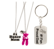 Set of 3 Necklaces and Keychain, Mother Father and Daughter Dance