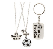 Set of 3 Necklaces and Keychain, Mother Father and Daughter Soccer