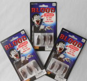 Halloween Novelty Toy Vampire Blood Capsules - 3 Packs of 3 Total 9 Capsules - For Ages 14+