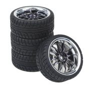 Shaluoman 12-Spoke Plating Hub Wheel Rims With Soft Rubber Tyres For RC 1:10 On Road Car Colour Black