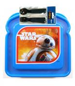 Star Wars Episode 7 The Force Awakens BB-8 Droid Sandwich Container Plus Bonus Star Wars Ep7 4pc Flatware Set!