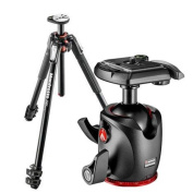 Manfrotto MT190 Aluminium 3-Section Tripod with Horizontal Column, 160cm Max Height, Supports 7kg - Bundle With Manfrotto MHXPRO-BHQ2 XPRO Ball Head with Quick-Release