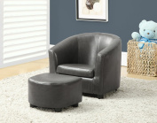 Monarch Specialties 2-Piece Charcoal Grey Leather-Look Juvenile Chair/Ottoman Set, 46cm