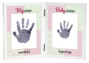 The Grandparent Gift Co. Sweet Somethings Handprint Frame, Big Sister/Baby Sister