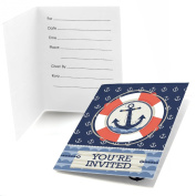 Ahoy - Nautical - Fill In Party Invitations - Set of 24