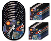 Space Blast Birthday Dessert Napkins & Plates Party Kit for 8