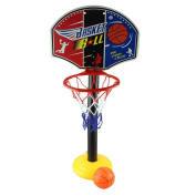 DDLBiz Kids Sports Toddler Baby Portable Basketball Hoop Toy Set with Stand Ball Pump
