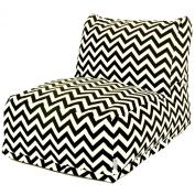 Majestic Home Goods Black Zig Zag Bean Bag Chair Lounger